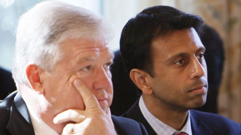 Haley Barbour and Bobby Jindal listen to speeches at Monday WH 'summit' AP Photo