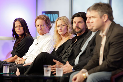 "PREQUEL The cast of the ""Battlestar Galactica"" prequel ""Caprica"" (L-R) Polly Walker, Eric Stoltz, Paula Malcomson, Writer and Executive Producer Ronald D. Moore, Writer and Executive Producer Remi Aubuchon, and Executive Producer David Eick on stage."