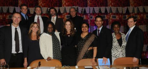 From left: Dave Howe, Mark Stern, Bonnie Hammer, Dave Eick, Whoopi Goldberg, Ron Moore, Mary McDonnell, Edward James Olmos, Radhika Coomaraswamy, Craig Mokhiber, Famatta Rose Osode and Robert Orr