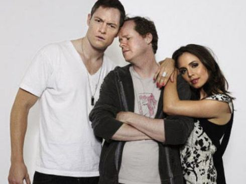 Stars Tahmoh Penikett (left) and Eliza Dushku (right) with creator Joss Whedon.