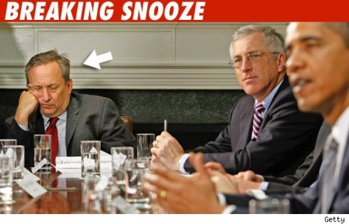 Larry Summers snoozes during WH Credit Card Summit....