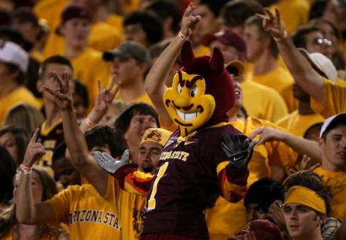 "TEMPE, AZ - OCTOBER 13:  ""Sparky"" the Arizona State Sun Devils mascot does performs in the student section durng the gam at the top e against the Washington Huskies on October 13, 2007 at Sun Devil Stadium in Tempe, Arizona.  Arizona State won 44-20.  (Photo by Stephen Dunn/Getty Images)"