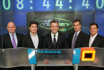 "Jeff Macke, Tim Strazzini, Dylan Ratigan, Guy Adami, and Eric Bolling of CNBC's ""Fast Money"", preside over the Market Open  Wednesday, January 3, 2007 at NASDAQ's MarketSite in New York City."