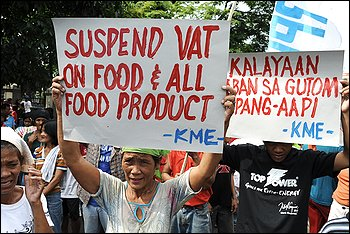 Demonstrators called for a suspension of value-added tax on food in Manila last year. Such a tax is attracting real interest among U.S. policymakers. (By Romeo Gacad -- Agence France-presse Via Getty Images) WaPo