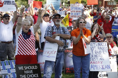 People protest President Barack Obama's health-care plan at a rally at Lincoln Park in Grand Junction, Colo., on Saturday, Aug. 15, 2009 AP