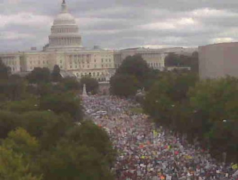 Instapundit: Mary Katharine Ham emails this pic from the Newseum balcony in DC.