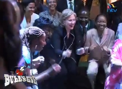 Hillary dancing in Kenya (knowing there was a bomb plot just foiled, cojones of steel has Hillary)
