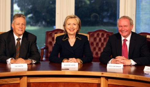 Hillary, Northern Ireland's first minister, Peter Robinson, above left, and Martin McGuinness, the deputy first minister.